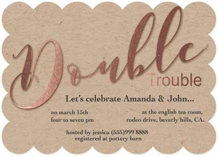 baby shower invitations - Double Trouble by Roshni Anand