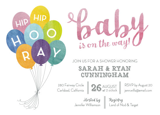 baby shower invitations - Hip Hip Hooray by Lauren M Design