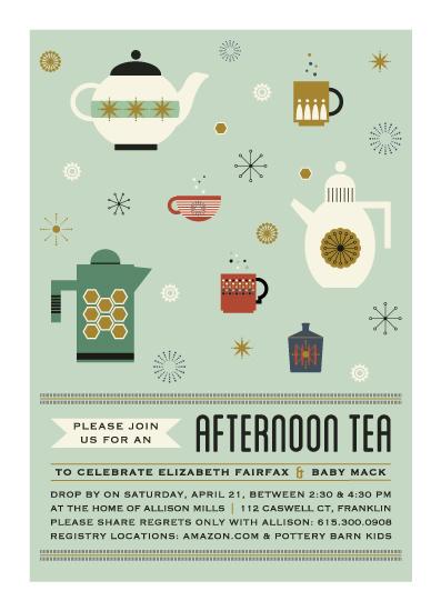 baby shower invitations - Afternoon Tea & Kettles by paperBLDG Studio