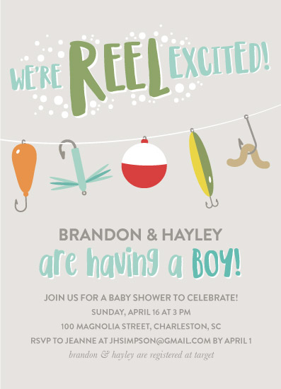 baby shower invitations - reel excited by Lauren Gerig