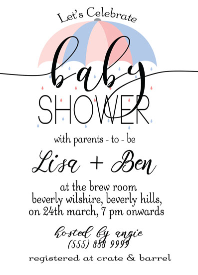 baby shower invitations - Umbrella by Roshni Anand