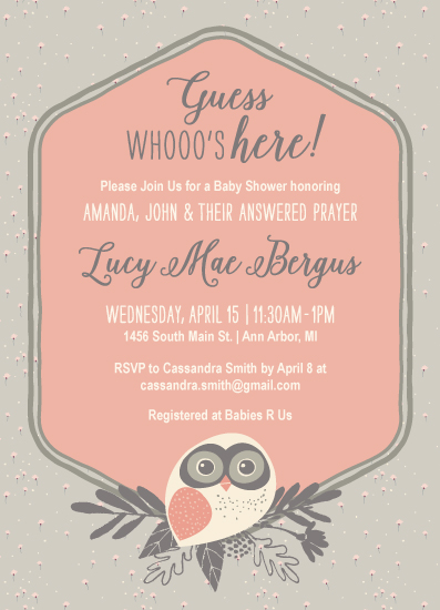 baby shower invitations - Whooo's Here! Adoption Baby Shower by Laurel Twist