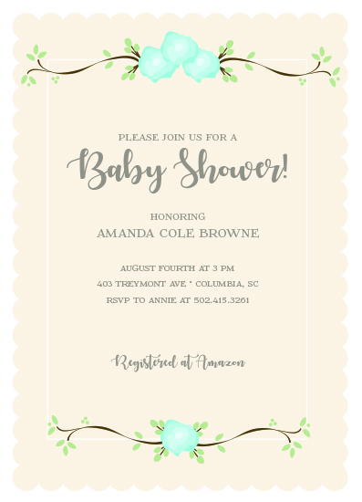 baby shower invitations - Coming up Roses by hobson studios