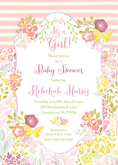 baby shower invitations - Butterfly Floral Stripe by Allison Kizer