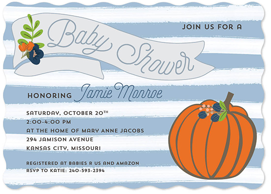 baby shower invitations - Striped Autumn Pumpkin by Allison Kizer