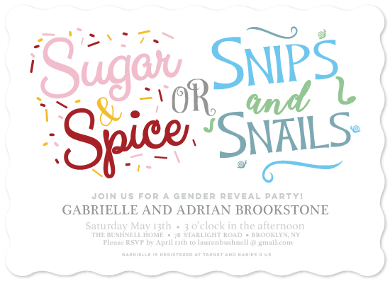 baby shower invitations - Sugar and Spice or Snips and Snails by Janelle Williams