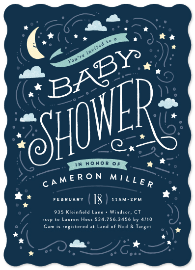 baby shower invitations - Moon and stars by Jennifer Wick