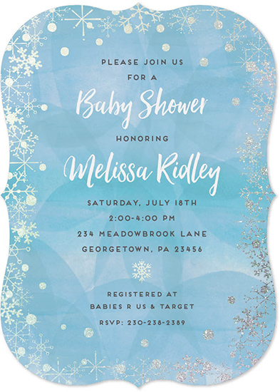 baby shower invitations - Silver Snowflake Frame by Allison Kizer