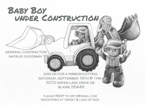 baby shower invitations - Under Construction by Karen Ritz