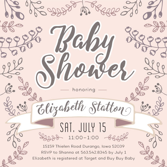 baby shower invitations - Square Floral Banner by Mabe Design Co.