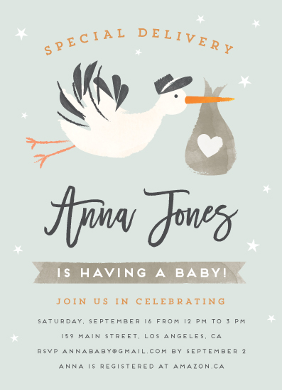 baby shower invitations - Stork Delivery by Chryssi Tsoupanarias