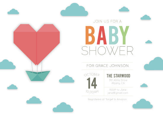 baby shower invitations - Origami Adventure by Annie Dickerson