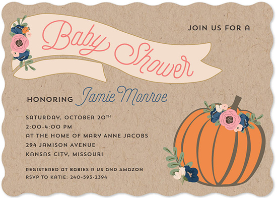 baby shower invitations - Floral Autumn Pumpkin by Allison Kizer