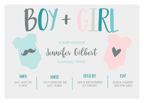baby shower invitations - Twin Onsies by Christie Garcia