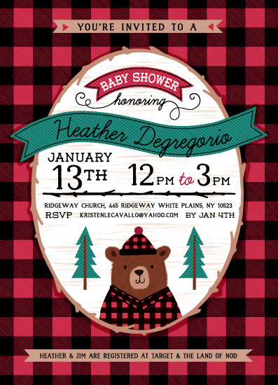 baby shower invitations - Lumberjack Shower by Kristen Cavallo