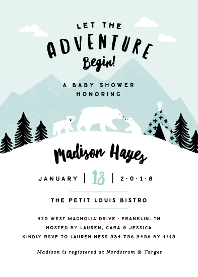 baby shower invitations - Winter cubs by Jennifer Wick
