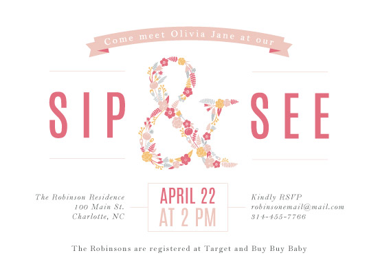 baby shower invitations - sweet sip & see by Lauren Gerig