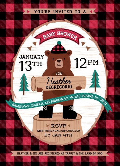 baby shower invitations - Lumberjack bear by Kristen Cavallo