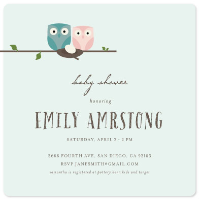 baby shower invitations - owls by Marnel
