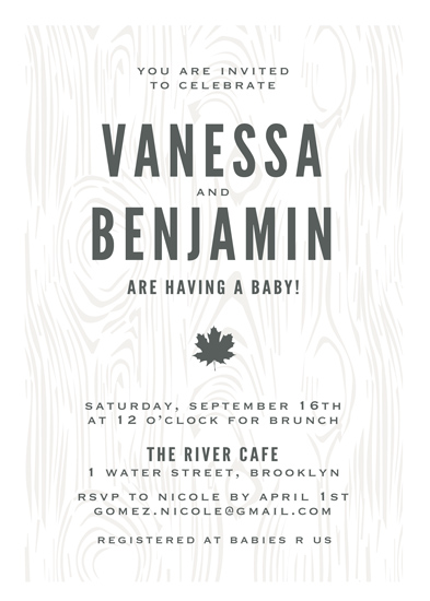 baby shower invitations - Bold and Grainy by Gray Star Design