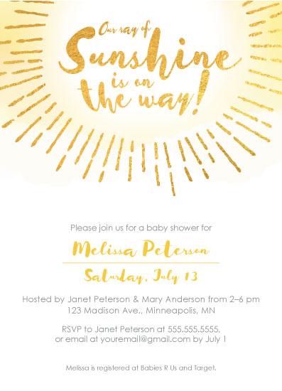 baby shower invitations - Ray of Sunshine by Kimiyo Prints
