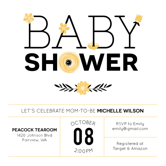 baby shower invitations - In Bloom by Annie Dickerson