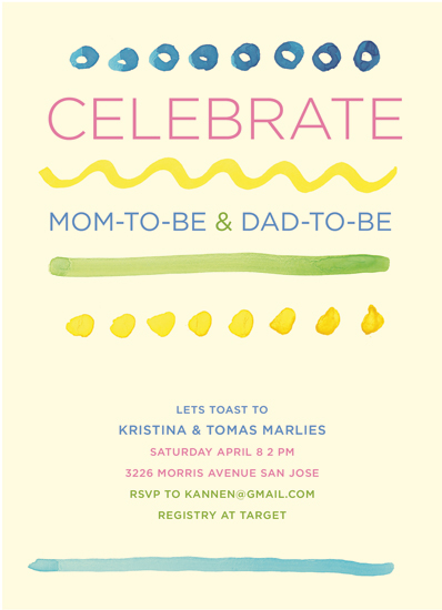 baby shower invitations - Bright Lines by Kristin Annen