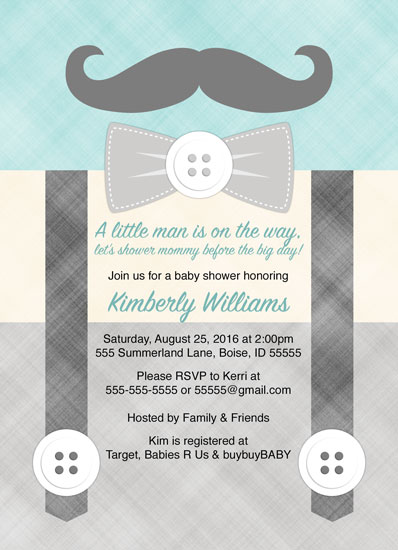 baby shower invitations - Little man mustache baby shower invitation by Willow Lane Paper
