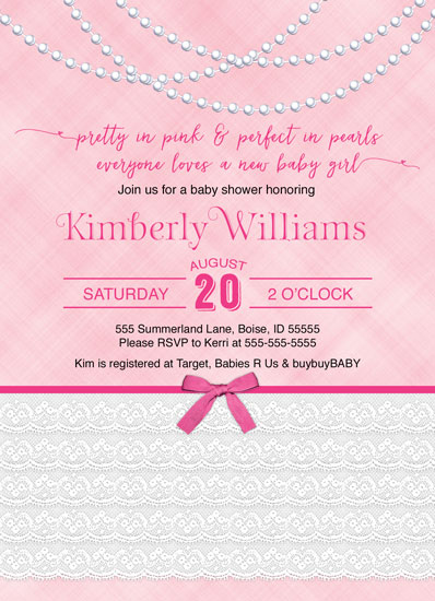 baby shower invitations - pretty in pink, perfect in pearls by Willow Lane Paper
