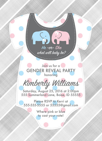 baby shower invitations - Elephant gender reveal party invitations by Willow Lane Paper