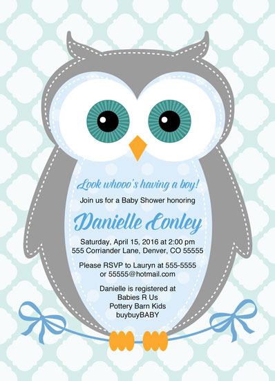 baby shower invitations - owl baby shower invitation for boys by Willow Lane Paper