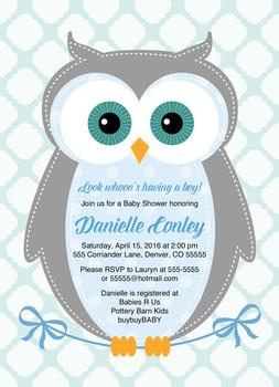 owl baby shower invitation for boys