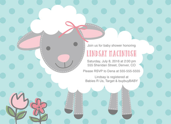 baby shower invitations - Sweet little lamb shower invitation by Willow Lane Paper