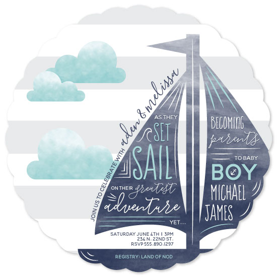 baby shower invitations - Set Sail Adventure by Megan L. Hain