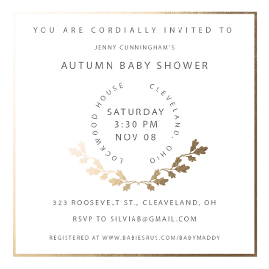 baby shower invitations - autumn baby shower by Mariko Iwata