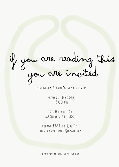 baby shower invitations - watercolor bib baby shower by Mariko Iwata