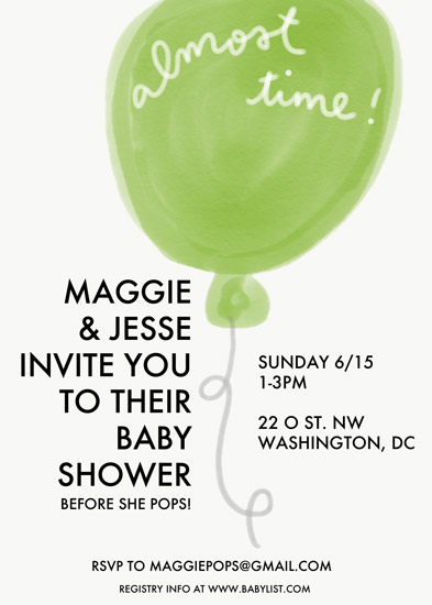 baby shower invitations - almost time baby shower balloon invitation by Mariko Iwata