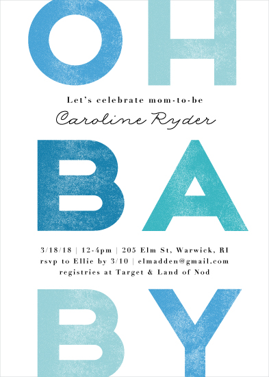 baby shower invitations - Oh baby blue by Jennifer Wick