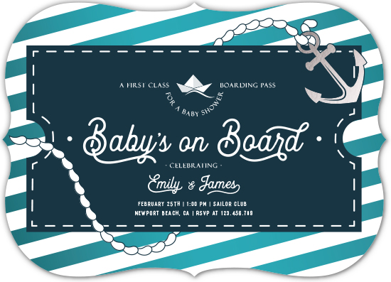 baby shower invitations - Baby's on Board by Linda Nagy
