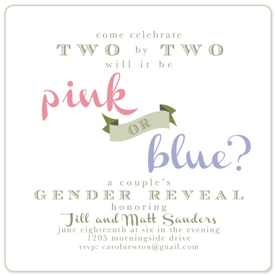 baby shower invitations - darling pink or blue gender reveal by Carrie Shannon
