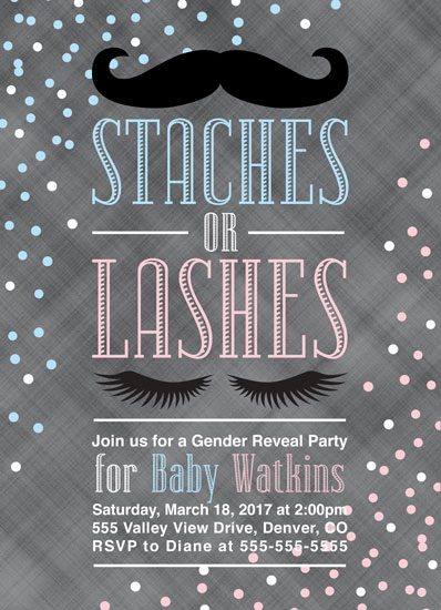 baby shower invitations - Stashes or Lashes Gender Reveal Invitation by Willow Lane Paper