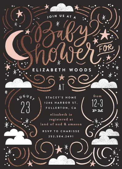 baby shower invitations - Moonlight Cloudy Night by Alethea and Ruth