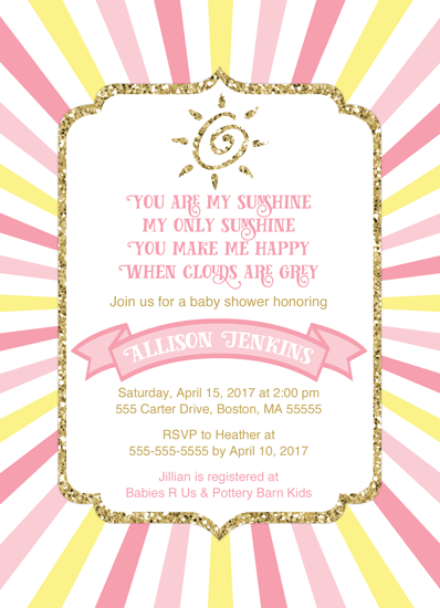 baby shower invitations - You are my sunshine baby shower invitation by Willow Lane Paper