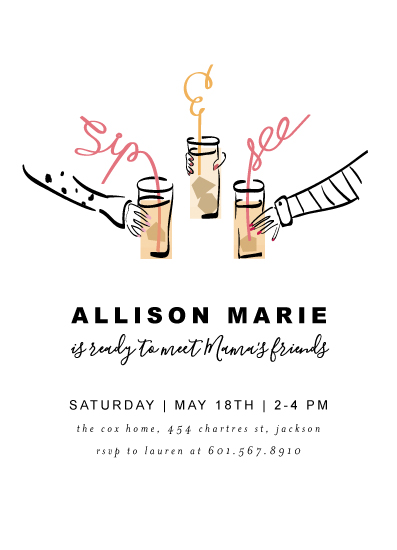 baby shower invitations - SIP & SEE, BABY! by Novel Paper