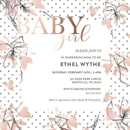 baby shower invitations - Baby Girl Original Art Floral by Simeone and Shierhorn
