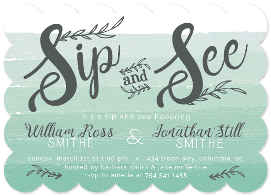 baby shower invitations - Ombre Sip and See Twins by Bess McCullough