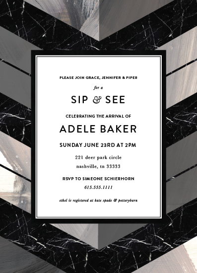 baby shower invitations - Sip and See Chevron by Simeone and Shierhorn