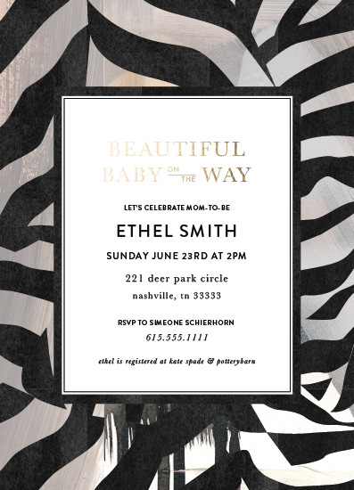 baby shower invitations - Beautiful Baby Zebra by Simeone and Shierhorn