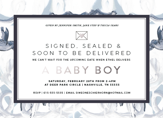 baby shower invitations - Signed, Sealed Baby Boy by Simeone and Shierhorn