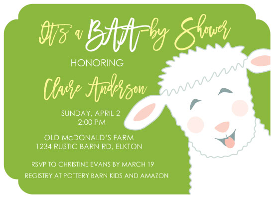 baby shower invitations - BAA-by Shower by Paper Hideaway